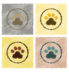 Assembly flat shading style icons dog trail vector