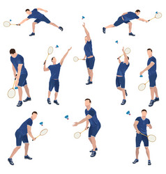 Badminton player with racket and shuttlecock set vector