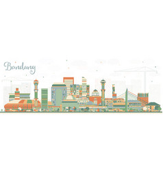 Bandung indonesia city skyline with color vector