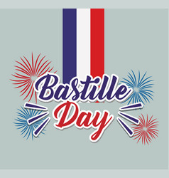 Bastille day celebration card with fireworks and vector