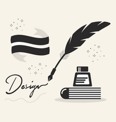 Black abstract feather quill ink pen and book vector