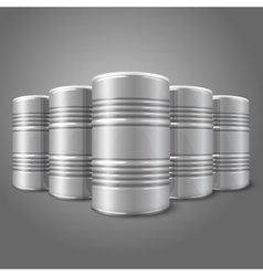 Blank realistic blank big oil barrels isolated on vector