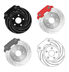 brake disk single icon in cartoonist vector image