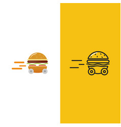burger delivery fast hamburger car vector image