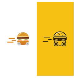 burger delivery fast hamburger car vector image