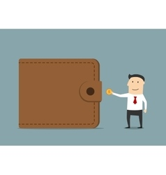 Businessman putting golden coin to wallet vector image