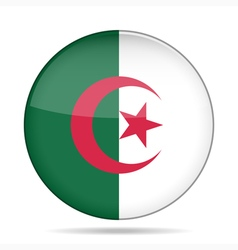 Button with flag of Algeria vector