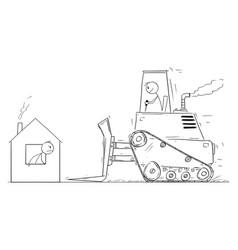 cartoon bulldozer moving to demolish small vector image