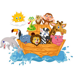 Cartoon noah s ark isolated on white background vector