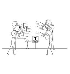 Cartoon two group people with loudspeakers vector