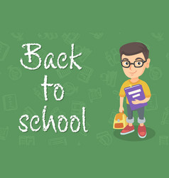 Caucasian pupil with backpack and textbook vector