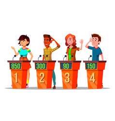 character participating in tv quiz show vector image