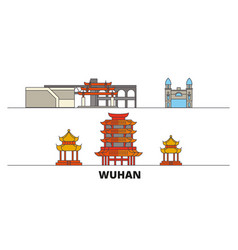 China wuhan flat landmarks vector