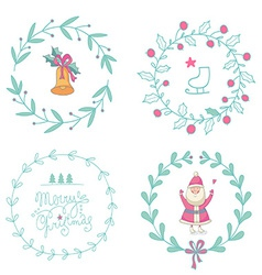Christmas wreaths set with Santa Claus and vector image