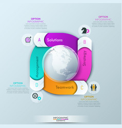 Circular infographic design template with 4 spiral vector