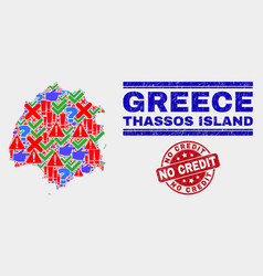 Collage thassos island map sign mosaic and vector