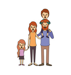 Color image caricature big family parents with boy vector