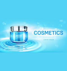 Cosmetics cream jar on water surface mockup banner vector