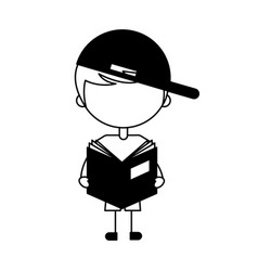 Cute boy with book character icon vector