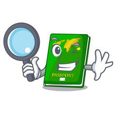 Detective green passport in the cartoon shape vector