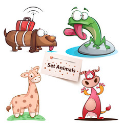 dog frog giraffe cow - set animals vector image