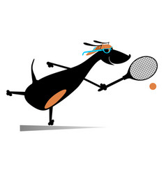 Dog playing tennis cartoon vector