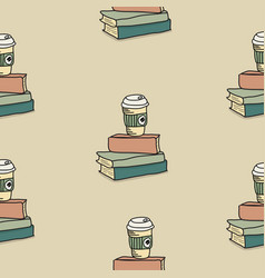 drawing doodle coffee with book pattern vector image
