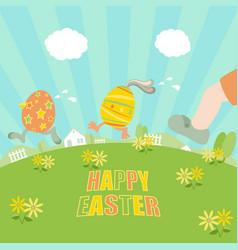 easter eggs running vector image