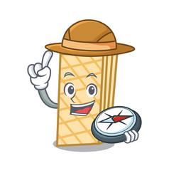 Explorer waffle mascot cartoon style vector