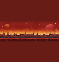 Fantasy wide sci-fi martian background for ui game vector