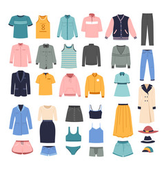 Fashionable clothes for women stylish outfits vector