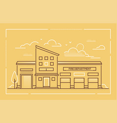 fire department - modern line design style vector image