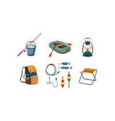 fishing and camping icons set bucket and vector image