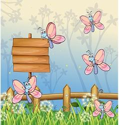 Five butterflies near an empty board vector