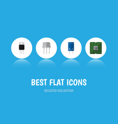 Flat icon device set of receiver transistor vector