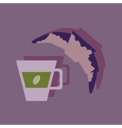 Flat with shadow Icon coffee and a croissant vector