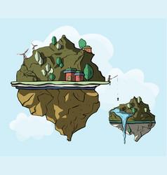 Floating island 3d vector