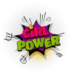 girl power woman comic book text pop art vector image