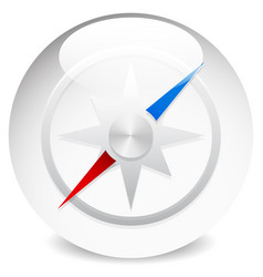 Glossy compass icon with wind rose isolated on vector
