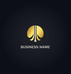 gold brain business logo vector image