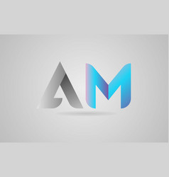 Grey blue alphabet letter am a m logo icon design vector