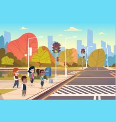 group school children waiting for green traffic vector image
