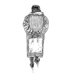Hand drawing an old woman going down street vector