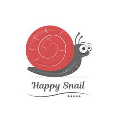 happy snail isolated on white background cartoon vector image vector image