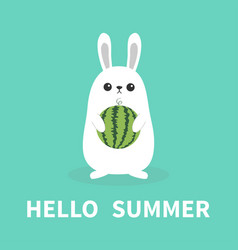 hello summer white bunny rabbit holding whole vector image