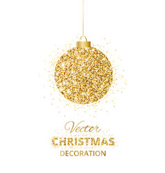 Holiday background with glitter golden decoration vector