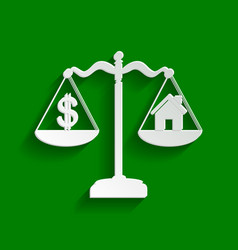 House and dollar symbol on scales paper vector