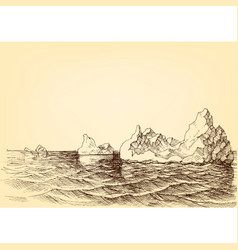 Iceberg on the ocean drawing vector