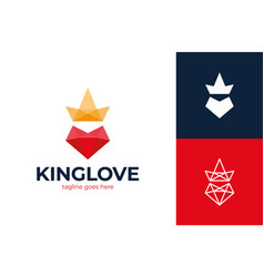 king love logo poly heart love and crown vector image