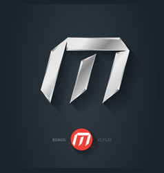 Letter m silver font elegant template for company vector